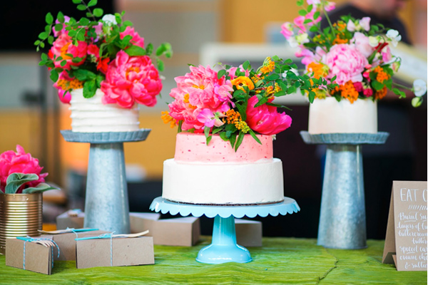 Three  Wedding Cakes, All Topped with Bright Fresh Flowers