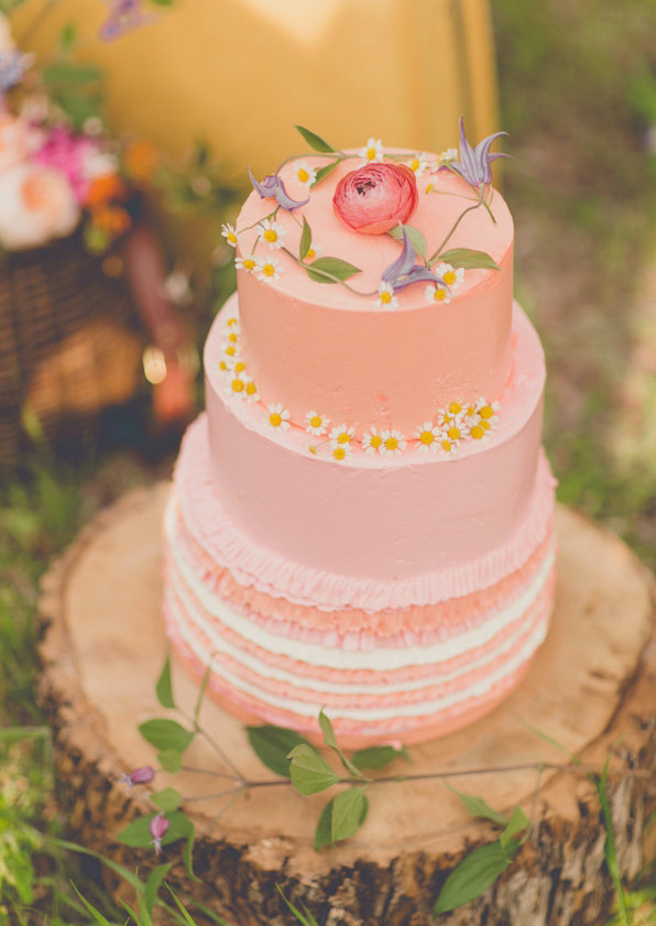 Tiered Cake Topped with Fresh Flowers