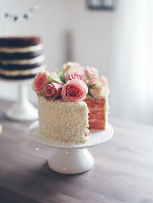 Pink Cake topped with Fresh Roses, on Bluprint