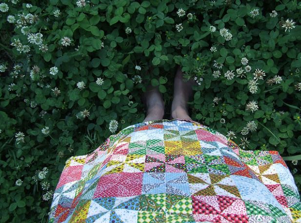 Patterned Quilt in a Natural Setting