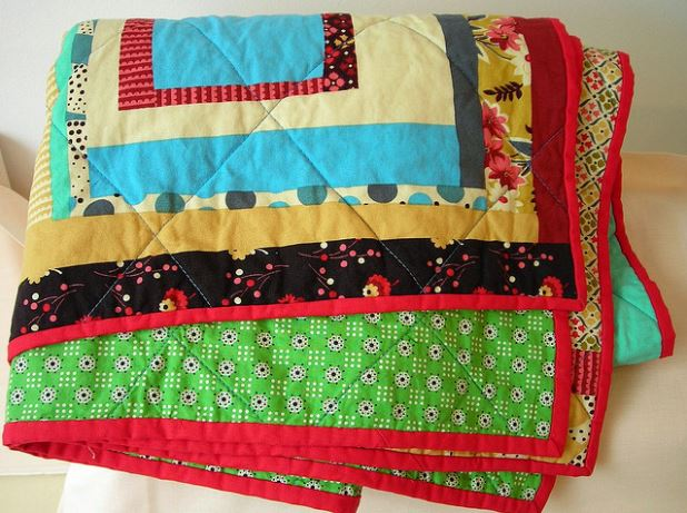 Folded Boldly-Colored Quilt