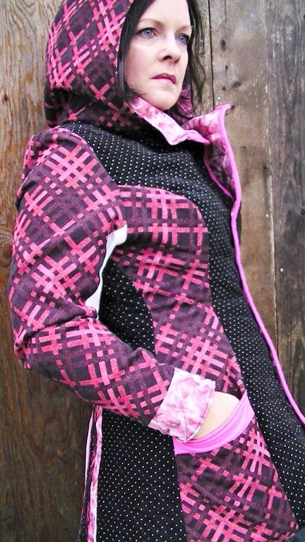 Woman in Pink Plaid Coat with Hood