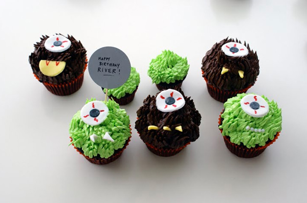 White and Brown Monster Cupcakes