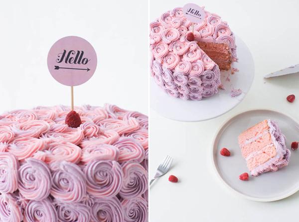 Pink Rosette Cake, Styled Cake Photograph on Bluprint