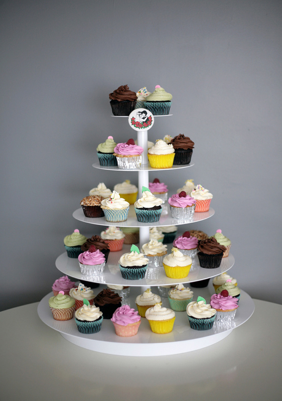 Cupcakes on White Tiered Tower