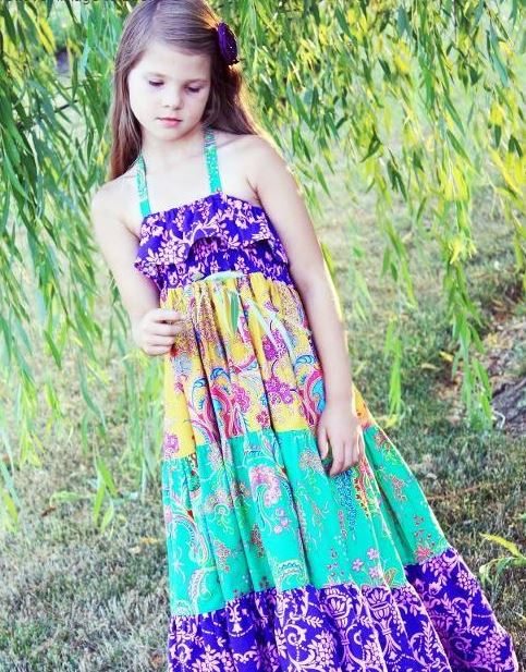 Girl Wearing Patchwork Dress in Natural Setting