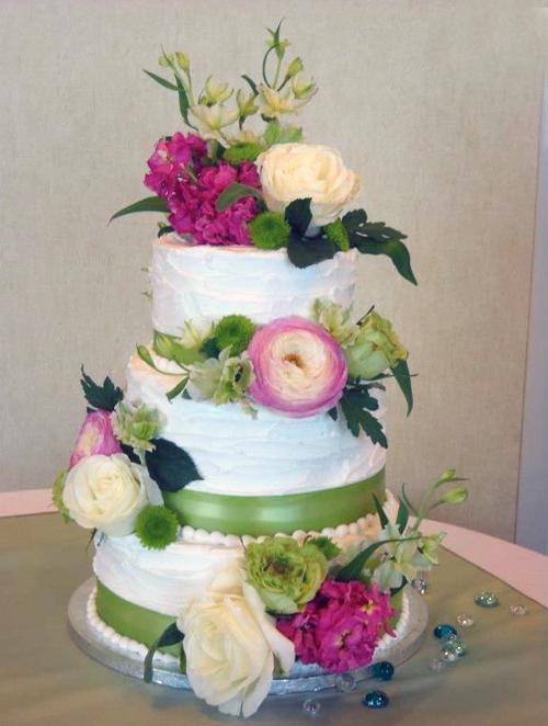 White Tiered Fresh Flower Cake