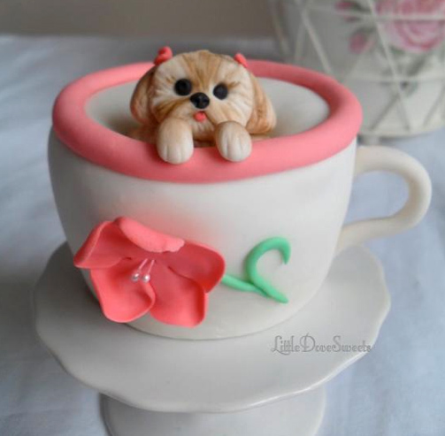Cake Designed as Puppy Peeking out of Teacup