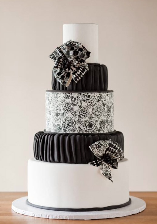Tiered Black and White Cake, on Bluprint