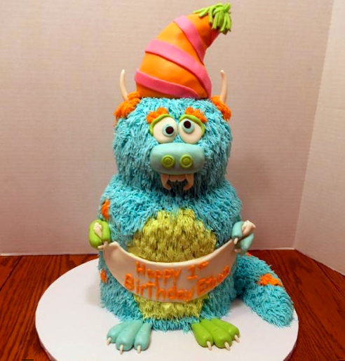 Blue Furry Monster Cake