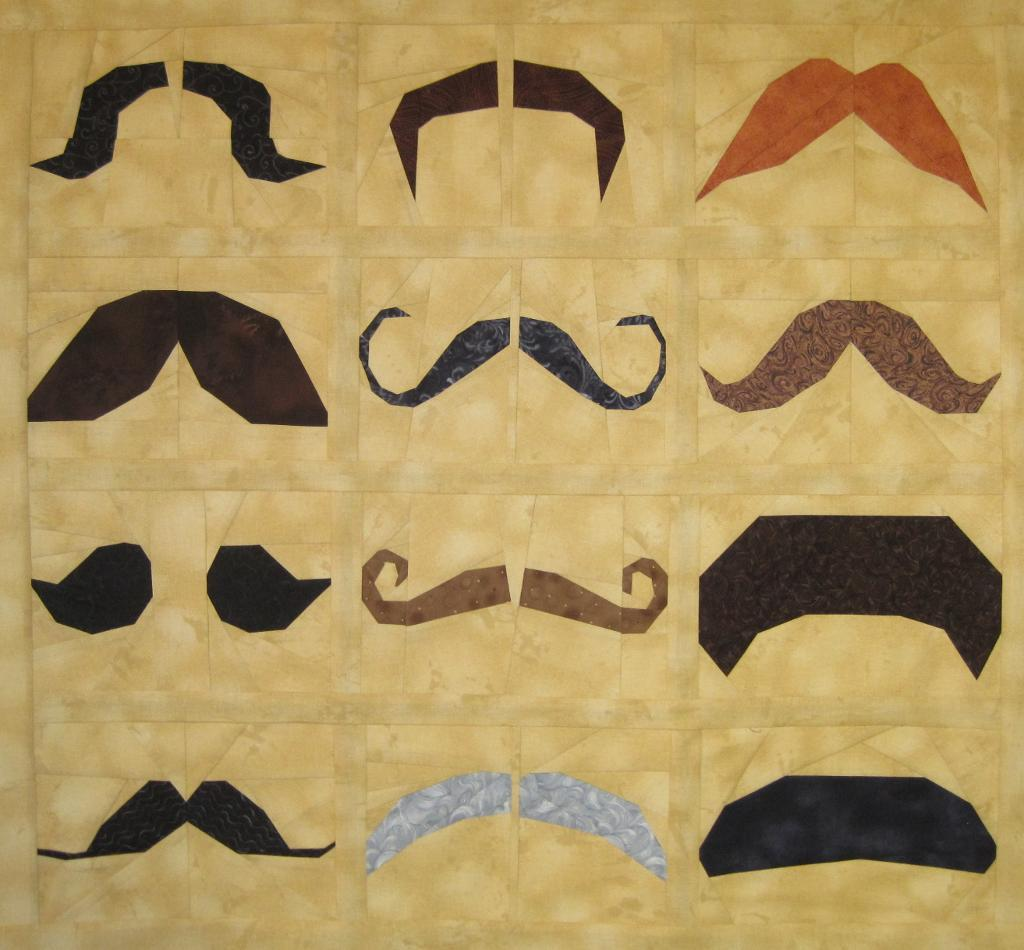 Quilt Designed with Variety of Mustaches