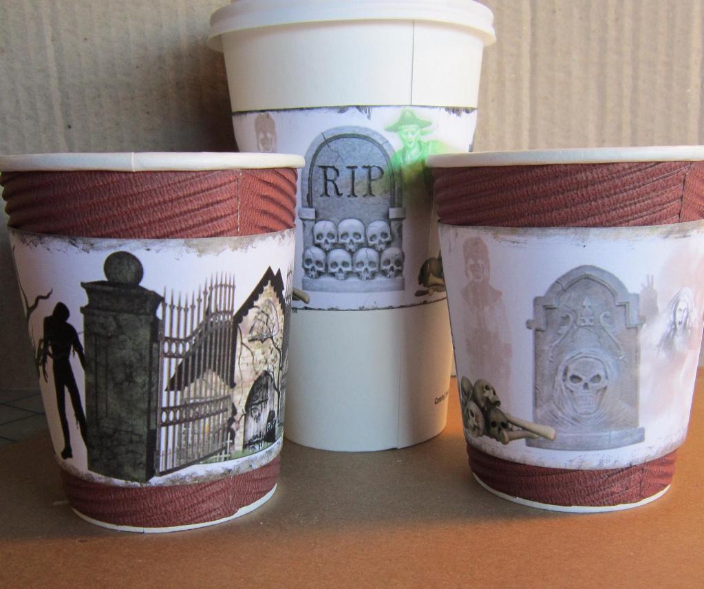 Halloween-Theme Coffee Cup Sleeves