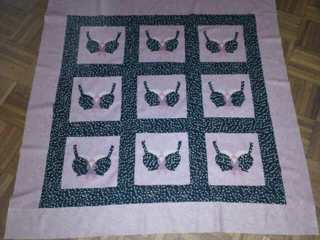 Quilt Featuring Cute Bras and Pink Ribbons
