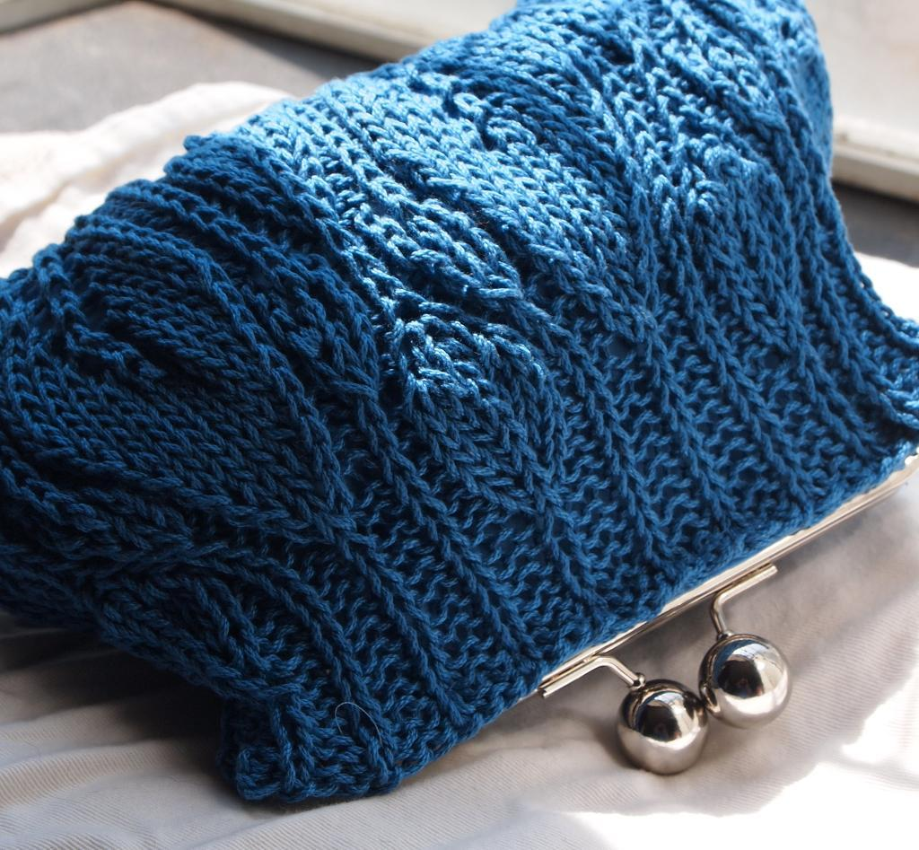 Blue Knit Clutch