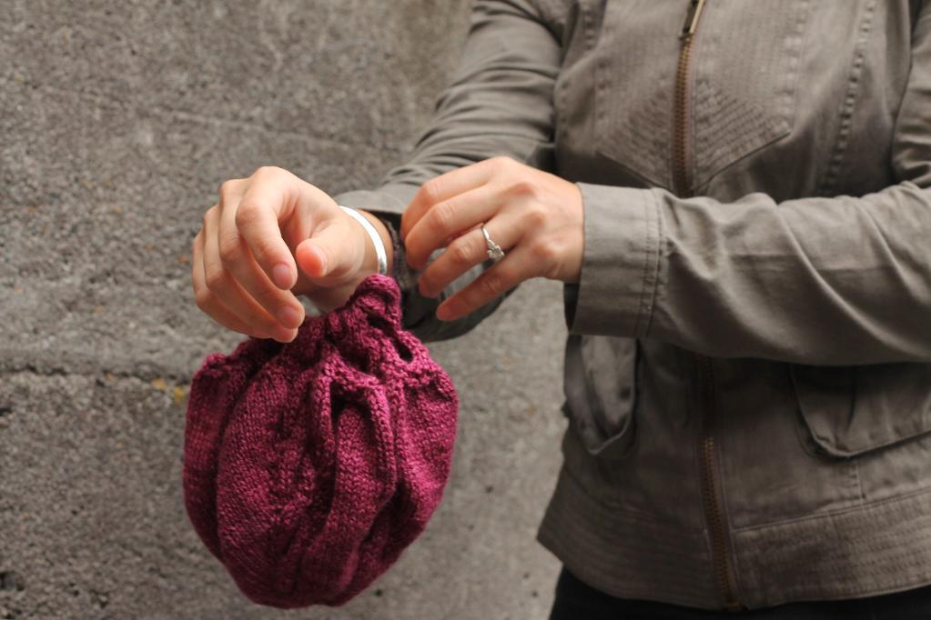 Woman with Pink Knit Satchel, a Quick Knitting Project