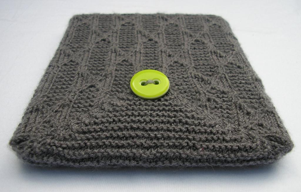 Knit Grey Tablet Case with Bright Green Button