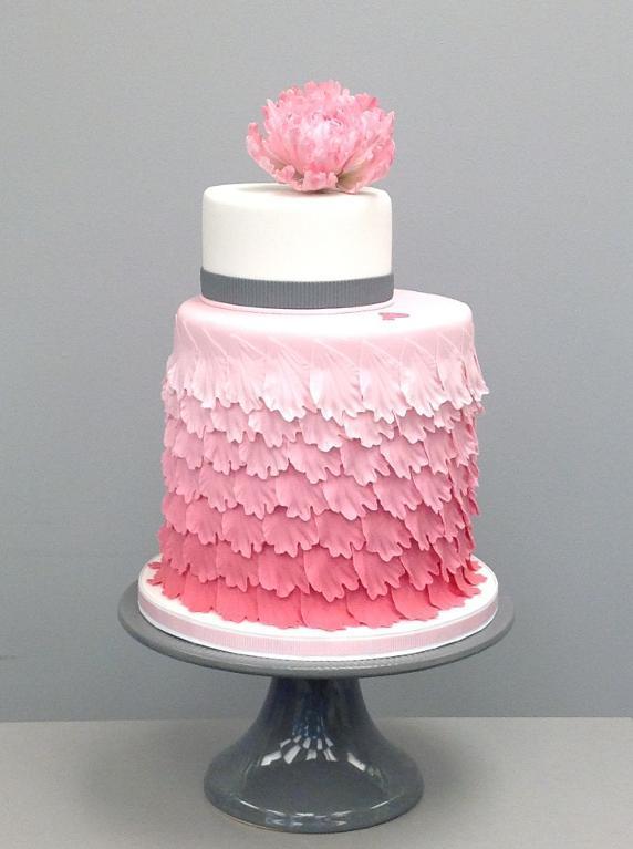 Frilled Pink Cake with Pink Sugar Rose
