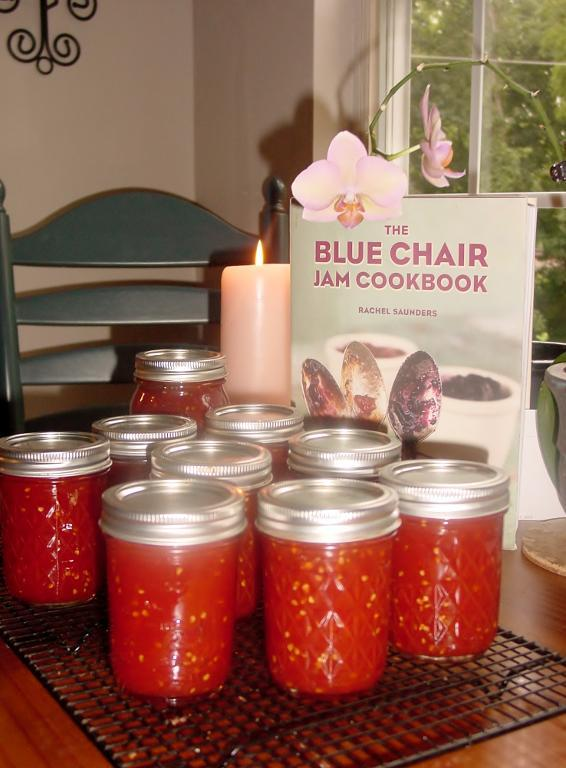 Jars of Jam Next to Blue Chair Cookbook