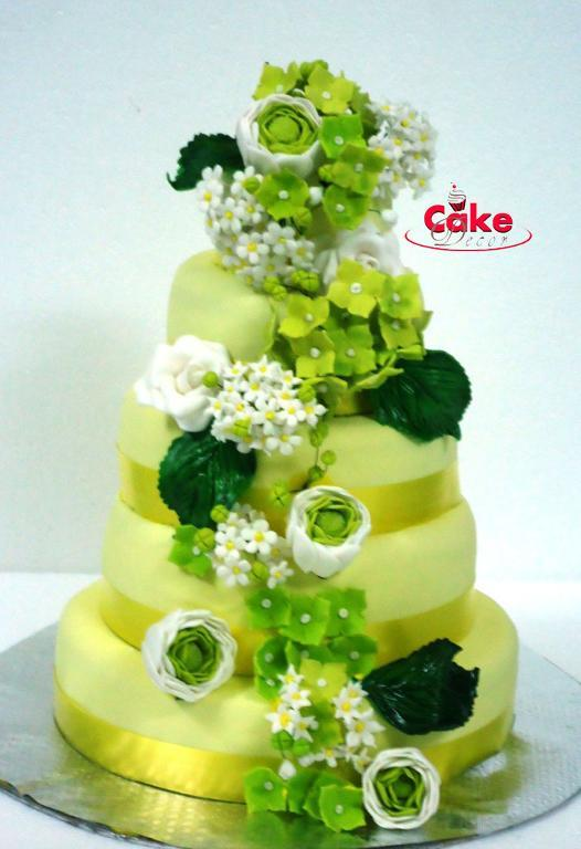 Green Cake with Floral Decor