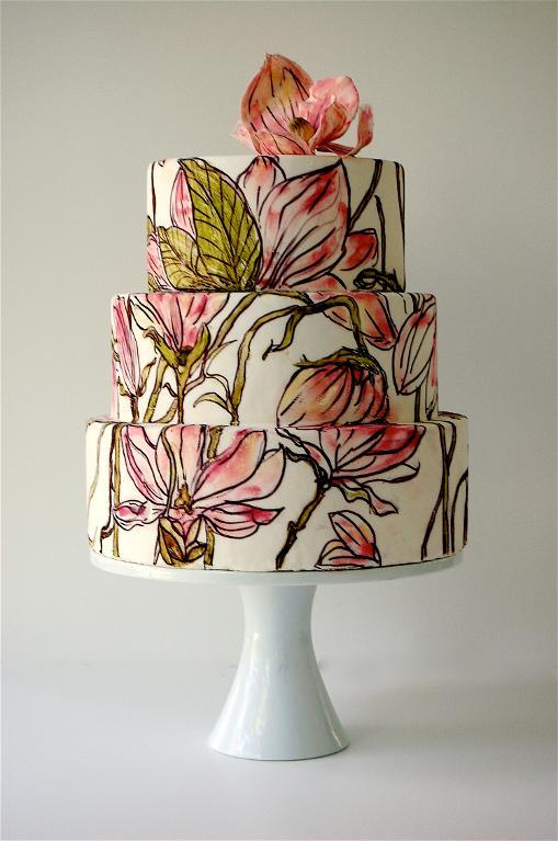 Tiered, Hand-Painted Cake with Sugar Flowers, on Craftsy