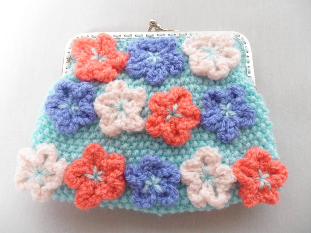 Knit Clutch with Little Flowers