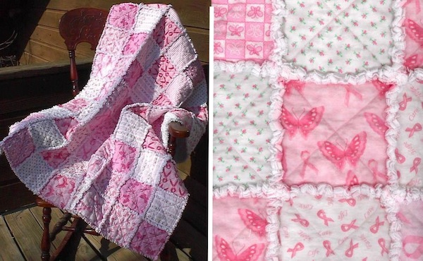 Pink and White Quilt with Butterflies
