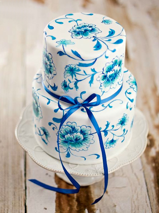 White Tiered Cake, Hand-Stamped with Blue Floral Pattern
