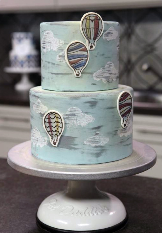 Tiered Cake with Hand-Painted Hot Air Balloons