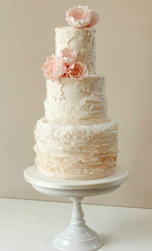 Ruffled and Lace Cake with Pink Roses