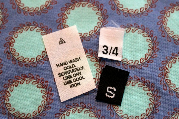 Care and size labels for Garments