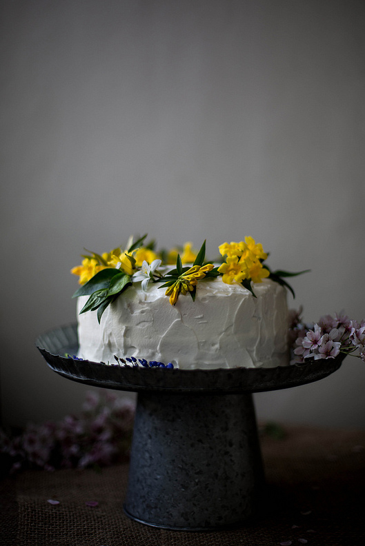 Rustic White Cake, Topped with Yellow Flowers