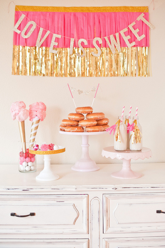 """""""Love is Sweet"""" Dessert Table with Doughnuts"""