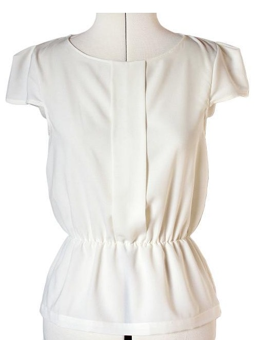 White Minna Blouse with Vintage Cut
