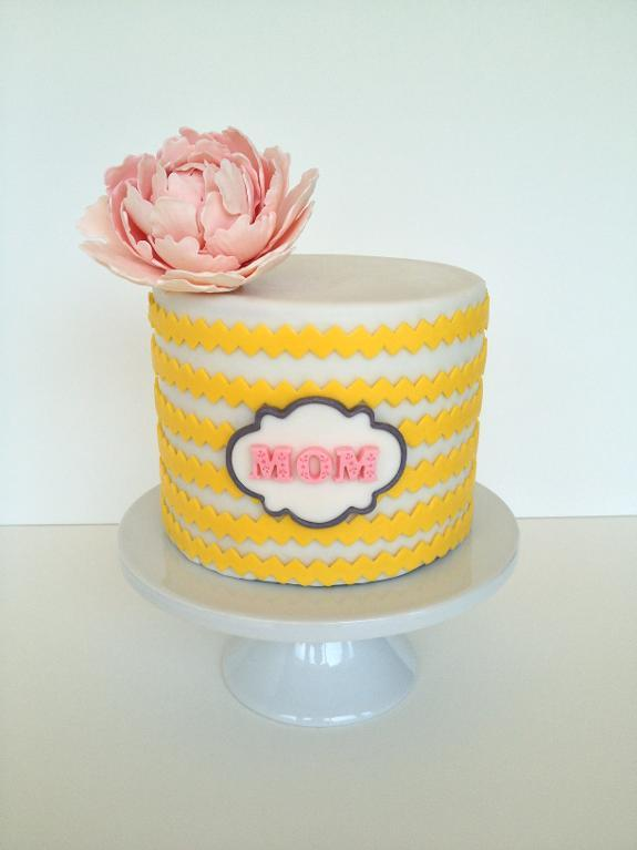 Mother's Day Cake with Fondant Flower