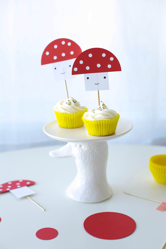 Cupcakes with Paper Mushroom Toppers