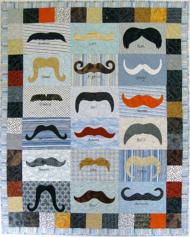 Colorful Patchwork Mustache Quilt on Bluprint