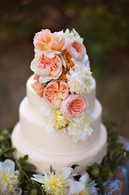 Pink Tiered Vintage Floral Cake Topped with Roses