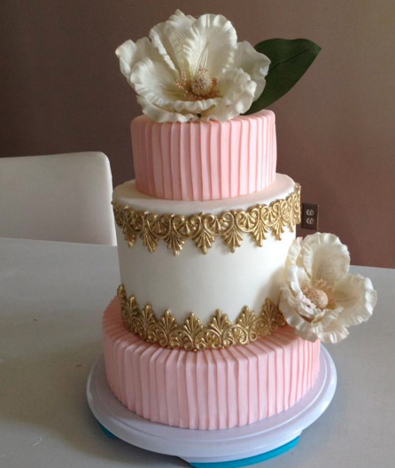 Tiered Cake Featuring Fondant Flwoers