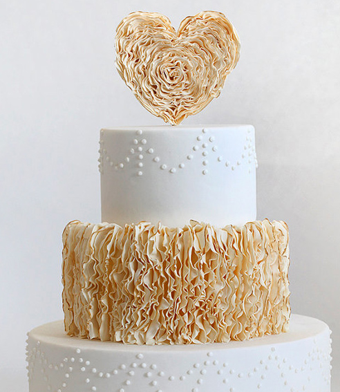 Ruffled Heart Cake Topper on Tiered Wedding Cake