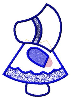 Machine Embroidered Design of Little Girl