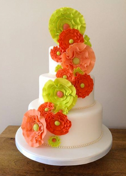 White Tiered Cake with Brilliant Bold Flowers