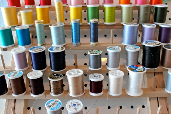 Spools of thread on Wooden Holder