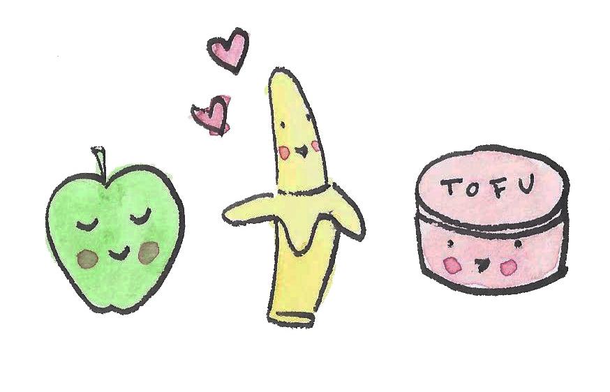 Cartoon of Apple, Banana and Tofu