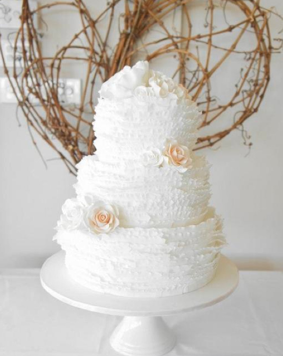 Tiered White Frilled Cake