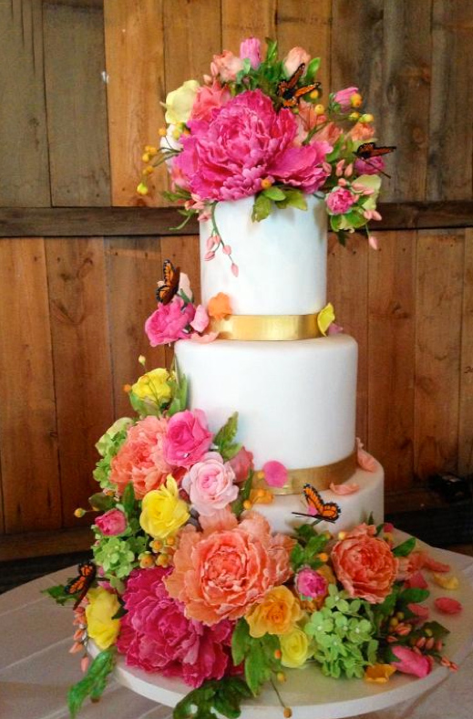 Tiered White Cake Decorated from Bottom to Top with Sugar Flowers