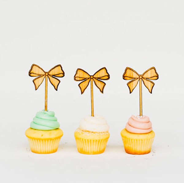 Yellow Bow Cupcake Toppers