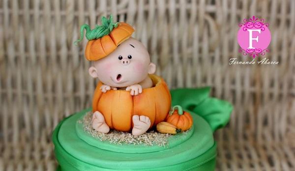 Fondant Baby in a Pumpkin