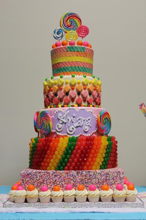 Tiered Candy Cake Covered in Gumdrops