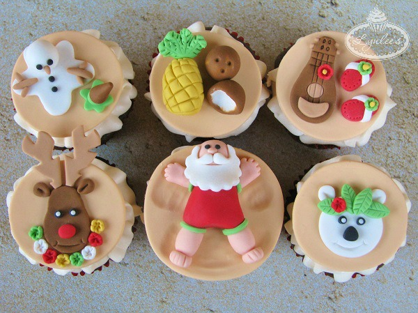 Hawaiian Christmas Cupcake Toppers