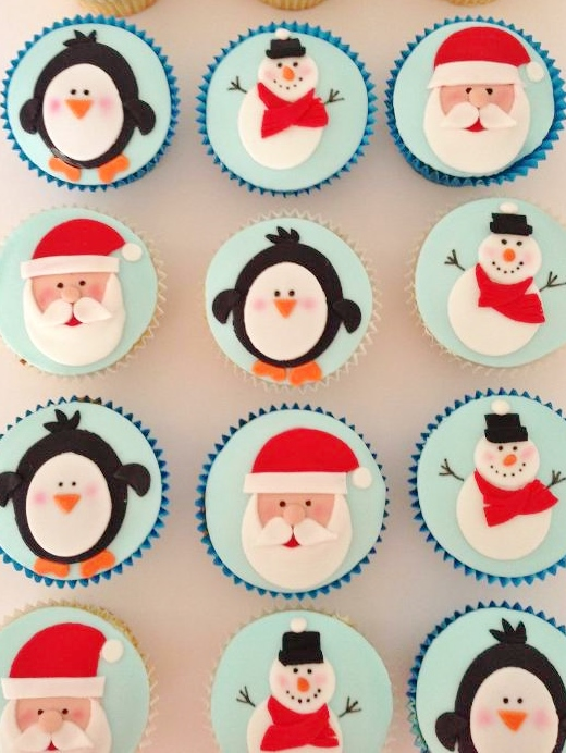 Snowmen, Penguins and Santa - Christmas Cupcakes